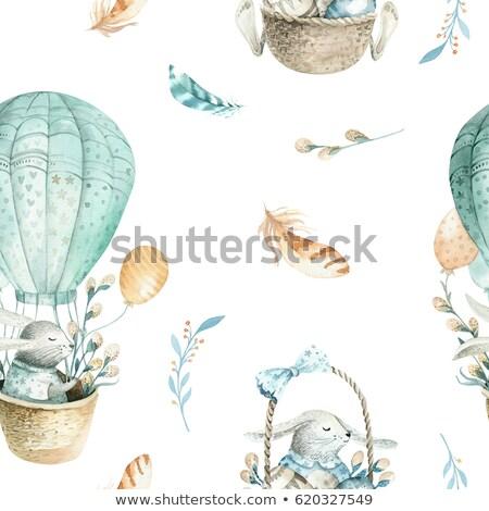 Kid Girl Woodland Animals Balloons Stock photo © lenm