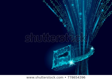 Cyber security concept: Shield With Keyhole icon on digital data. cyber data security or information stock photo © kyryloff