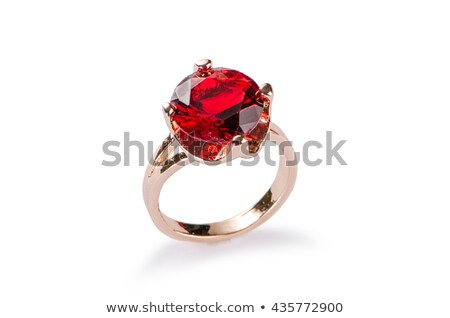 Robijn ring parels glamour mode sieraden Stockfoto © Eireann