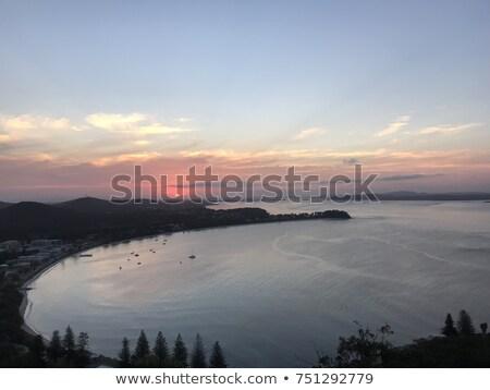 Stock fotó: Naplemente · kék · hegyek · Ausztrália · mögött · sziklák