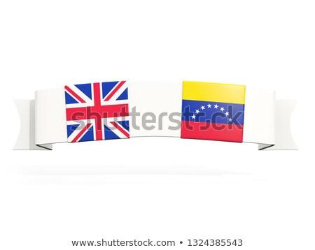 Banner due piazza bandiere Regno Unito Venezuela Foto d'archivio © MikhailMishchenko