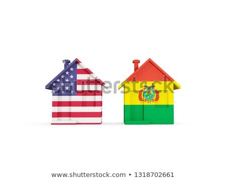 два домах флагами Соединенные Штаты Боливия изолированный Сток-фото © MikhailMishchenko