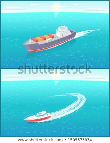 Cargo Ship and Yacht Leaves Trace in Sea or Ocean Stock photo © robuart