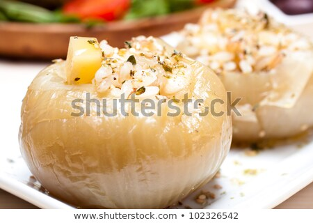 stuffed tomatoes with rice cheese and olives stock photo © imaagio
