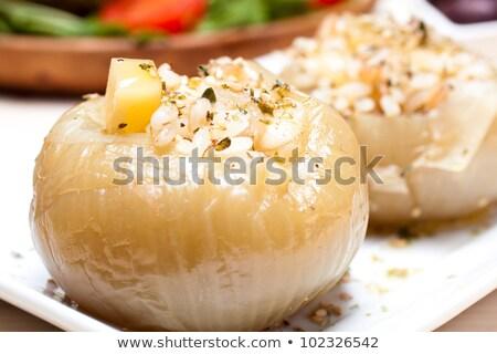ストックフォト: 詰まった · トマト · コメ · チーズ · オリーブ · 白