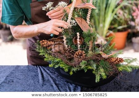 Comercial jardineiro grave decoração funeral trabalhar Foto stock © Kzenon