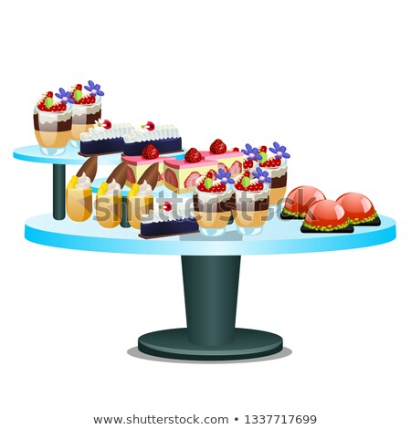Buffet table with sweet desserts isolated on white background. Vector cartoon close-up illustration. Stock photo © Lady-Luck