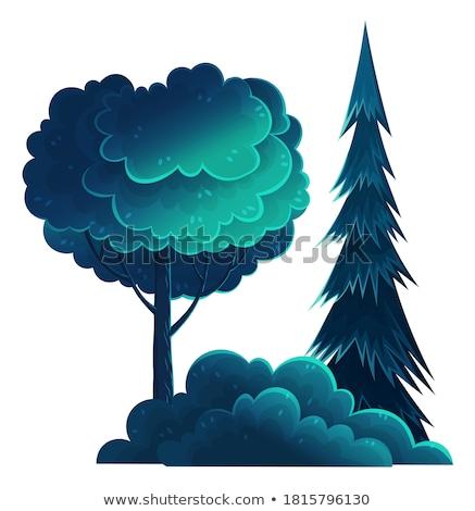Сток-фото: изолированный · дерево · высокий · кустарник · Cartoon · вектора