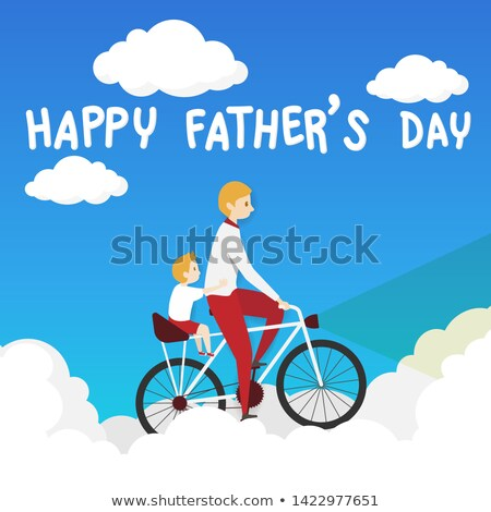 happy father carrying son over sky background stock photo © dolgachov