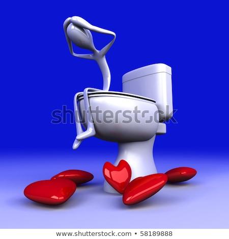 Toalett 3D renderelt illusztráció szeretet szív Stock fotó © Spectral