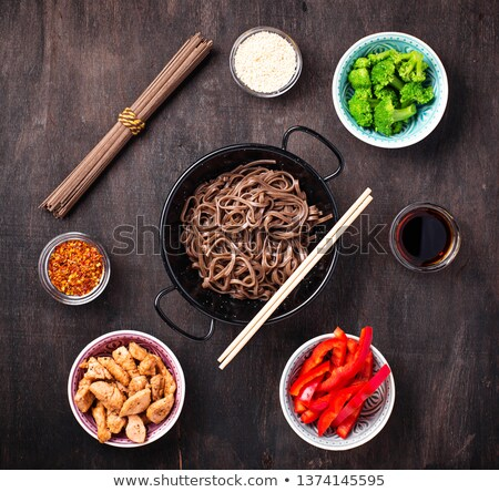 Foto stock: Asian noodles soba with various dressing