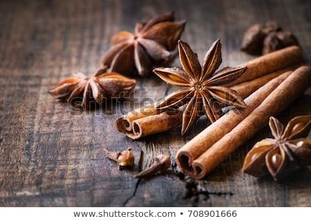 cinnamon with star anise and essential oil stock photo © bdspn