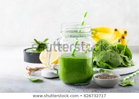 Reggeli detoxikáló zöld smoothie tál banán spenót Stock fotó © Melnyk