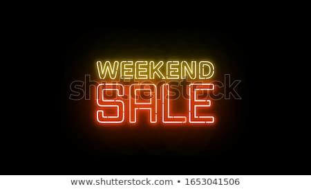 Summer sale weekend banner. Neon sign lettering. Stock photo © balasoiu