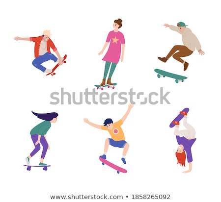 Skateboarding Teenager Jumping and Making Tricks Stock photo © robuart