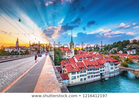 Zwitserland oude binnenstad dak huis gebouw Stockfoto © borisb17