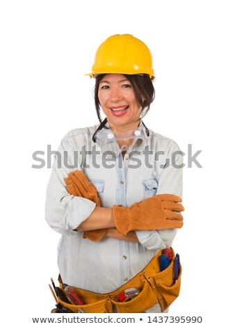 Hispanic Female Contractor Wearing Goggles, Hard Hat and Goggles Stock photo © feverpitch