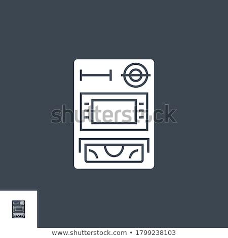 атм вектора икона изолированный белый бизнеса Сток-фото © smoki