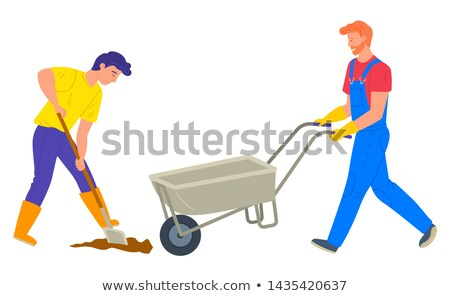 Emberek gazdálkodás teherautó ásó munkás vektor Stock fotó © robuart