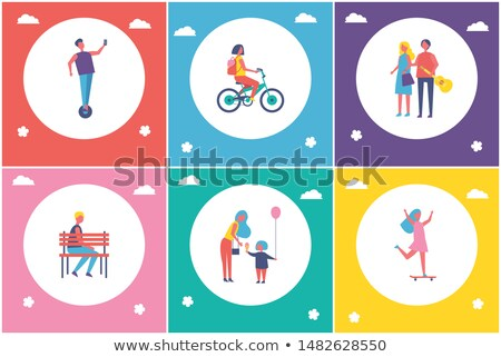 young people resting in park cartoon banner set foto stock © robuart
