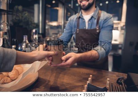 Koffie stand verkoper store klanten tabel Stockfoto © robuart