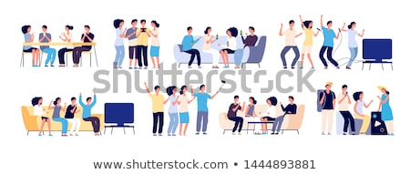 Friends Gathering, Spending Time Together Vector Stock photo © robuart