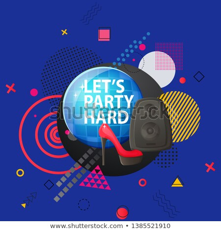 Lets Party Hard Disco Ball and Abstract Design Stock photo © robuart