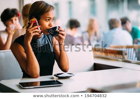 молодые афроамериканец женщину Diner довольно сидят Сток-фото © boggy