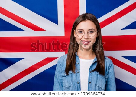 kız · İngiliz · bayrağı · İngilizler · sendika · bayrak - stok fotoğraf © dolgachov