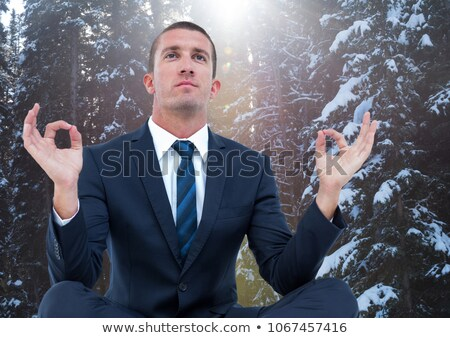 Business man meditating against snowy trees with flare Stock photo © wavebreak_media