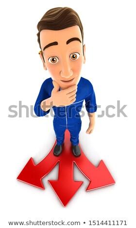 3D mécanicien difficile choix illustration isolé Photo stock © 3dmask