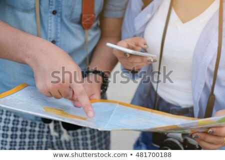 Nő férfi térkép talál helyszín elveszett Stock fotó © robuart