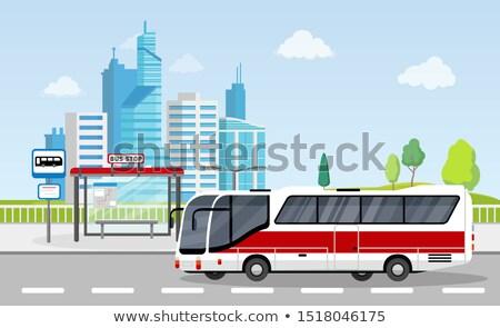 Otobüs durağı imzalamak program şehir gökdelenler toplu taşıma Stok fotoğraf © MarySan