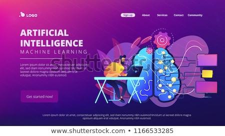 Yapay zeka iniş sayfa şablon beyin ağ Stok fotoğraf © RAStudio