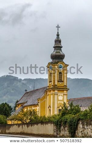 Stockfoto: Barok · kerk · Oostenrijk · Geel · straat · reizen