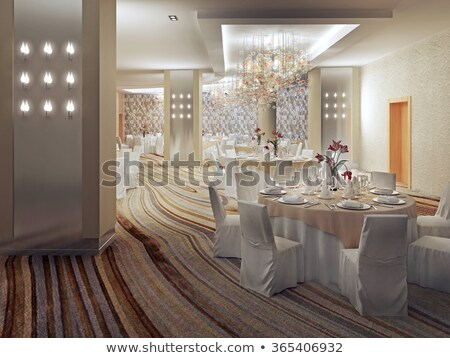 interior of large hall of modern luxurious restaurant with served tables stock photo © pressmaster