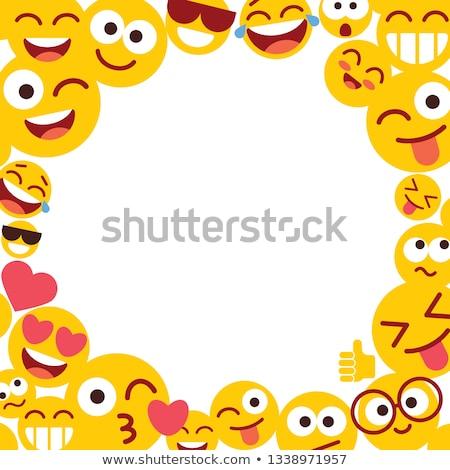 Diversión cara sonriente Cartoon iconos blanco marco Foto stock © cienpies