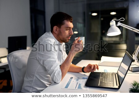 幸せ · 小さな · あごひげを生やした · 男 · ラップトップを使用して · コンピュータ - ストックフォト © dolgachov