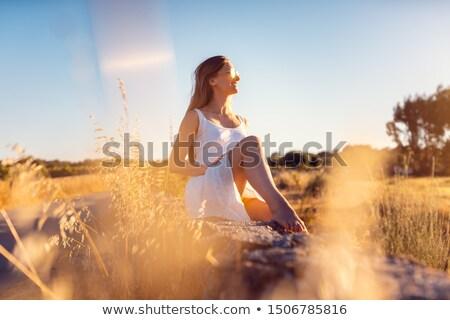 jeune · femme · séance · mur · de · pierre · été · bonheur · extérieur - photo stock © kzenon