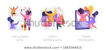 szalagavató · ünneplés · gyönyörű · barna · hajú · lány · kék - stock fotó © rastudio