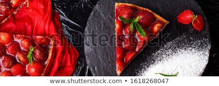 Banner with Strawberry pie on black slate plate. Valentine Day Stock photo © Illia