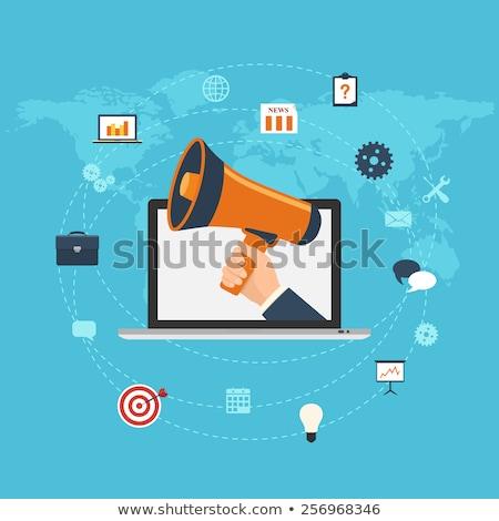 Hand with loudspeaker coming out of a laptop Stock photo © ra2studio