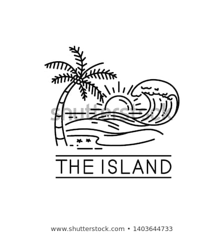 island with palm trees and sun icon vector outline illustration Stock photo © pikepicture