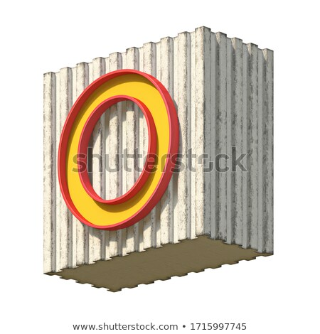 Vintage concrete red yellow font Letter O 3D Stock photo © djmilic