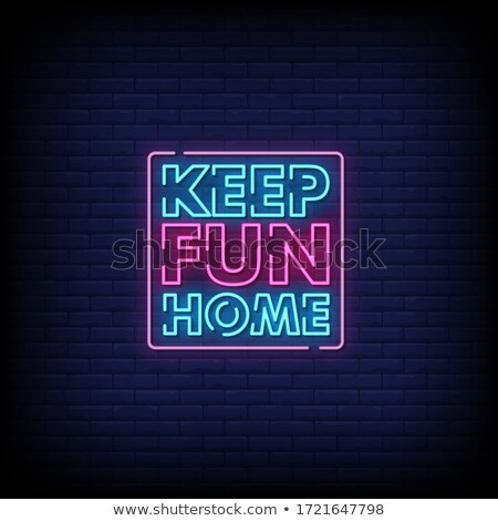 stay home red neon style poster design Stock photo © SArts