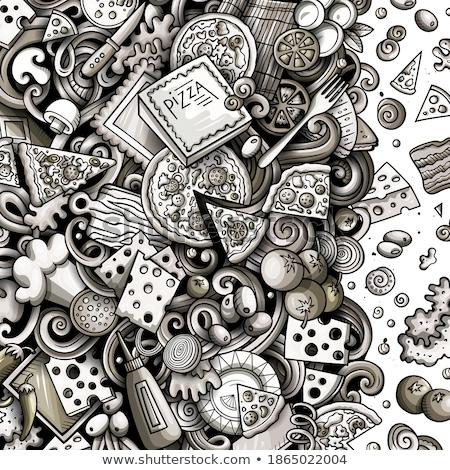 Karikatür vektör karalamalar pizza çerçeve grafik Stok fotoğraf © balabolka