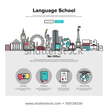 Oktatási turizmus szalag fejléc világszerte utazás Stock fotó © RAStudio