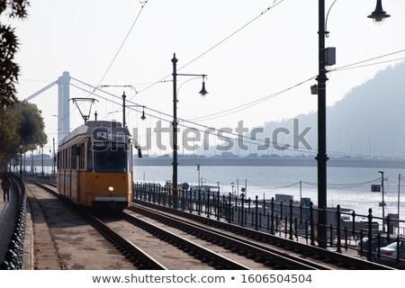 Amarelo bonde em movimento cidade estrada Budapeste Foto stock © artjazz