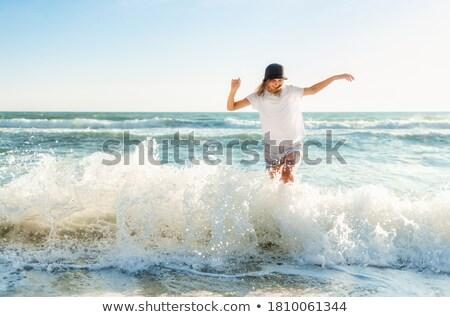 Seyahat tatil plaj kadın gülme Stok fotoğraf © Maridav