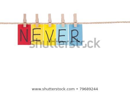 Soha fából készült szeg színes szavak kötél Stock fotó © Ansonstock